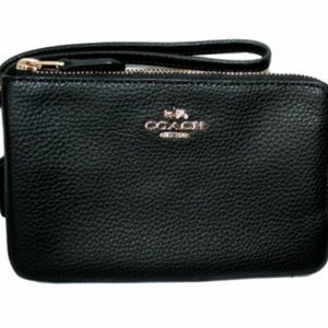 Coach double zip Wristlet black leather